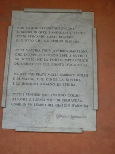 Gabriele D' Annunzio citazione su Padova